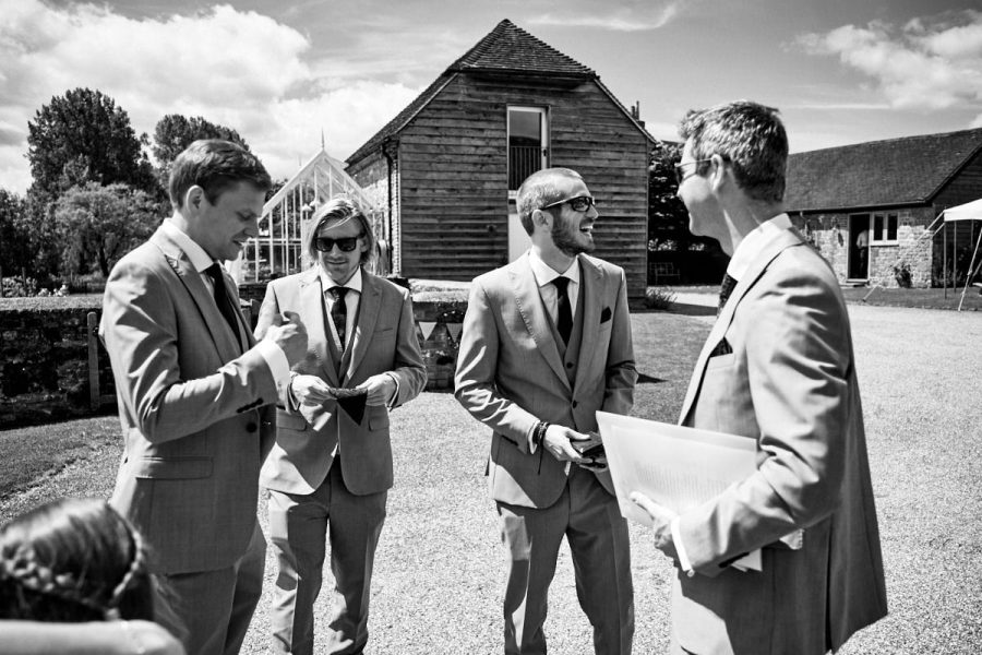 The groom and his groomsmen waiting for the ceremony