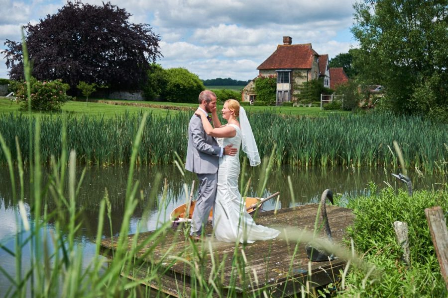 The bride and groom at their wedding at Grittenham Barn in Sussex