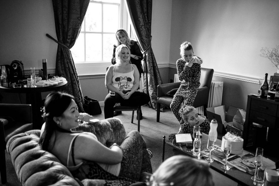 A bride getting ready at her Buxted Park Hotel wedding.