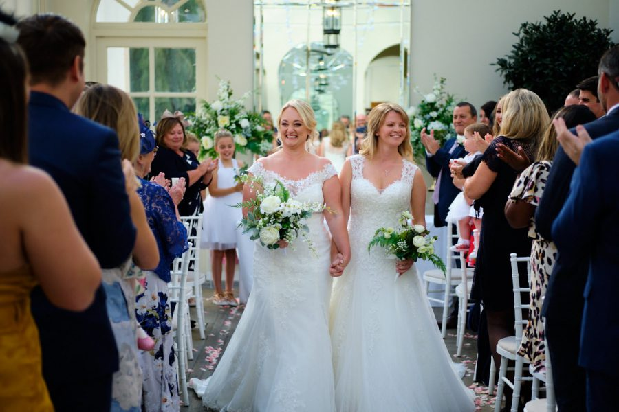 The recessional at a wedding at Buxted Park Hotel.
