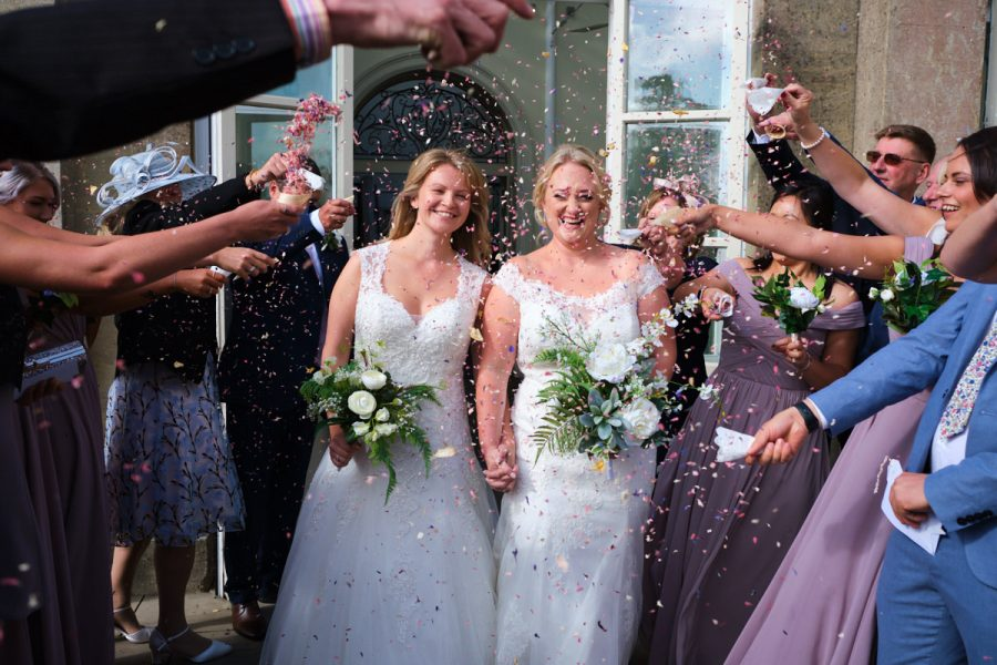 Wedding confetti at Buxted Park Hotel.