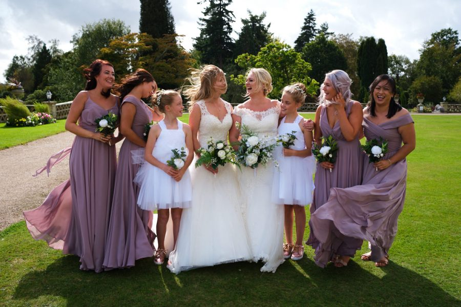A group shot at a wedding at Buxted Park Hotel.