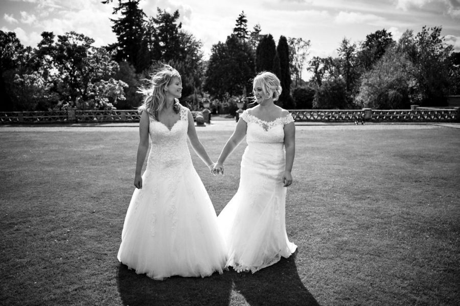Two brides at their same sex wedding at Buxted Park Hotel.