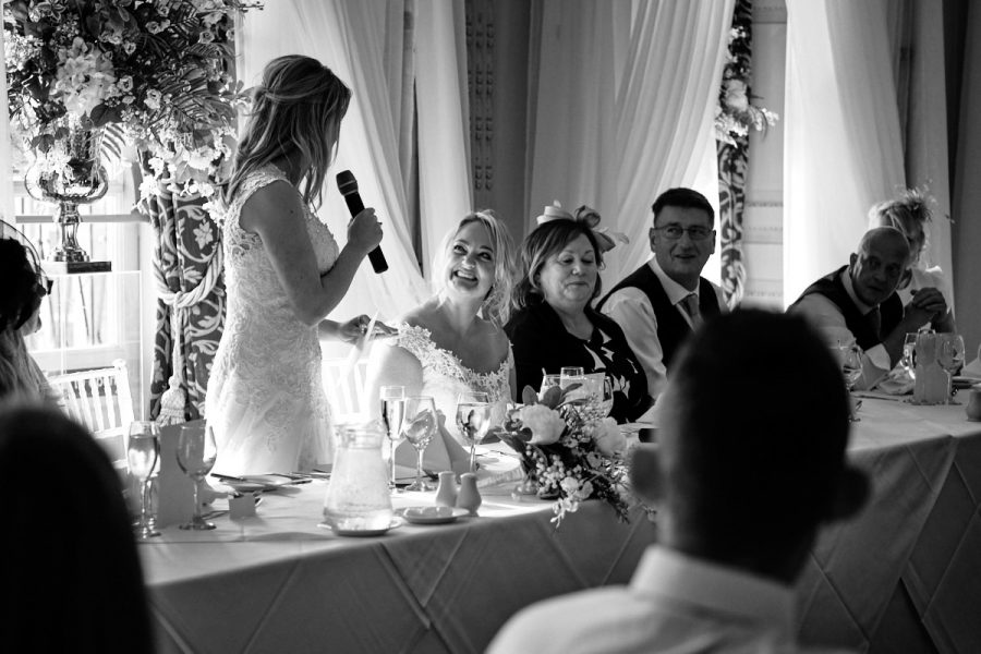 The bride gives a speech at her wedding at Buxted Park Hotel in East Sussex.